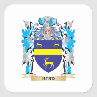 Hurd Coat of Arms - Family Crest Square Sticker