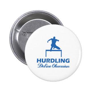 Hurdle design 2 inch round button