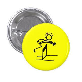 Hurdle stick girl pinback button