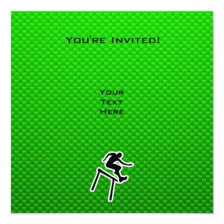 Hurdler verde invitación 13,3 cm x 13,3cm
