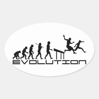 Hurdles Hurdler Sport Evolution Art Oval Stickers