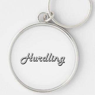 Hurdling Classic Retro Design Silver-Colored Round Keychain