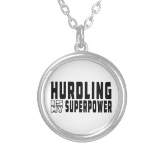 Hurdling is my superpower silver plated necklace
