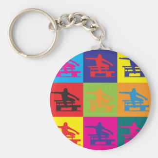 Hurdling Pop Art Basic Round Button Keychain