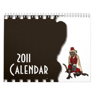 Hurdy Gurdy 3D Music Monkey 12 Wall Calendar