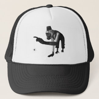 Hurdy Gurdy 3D Music Monkey & Spider Black & White Trucker Hat
