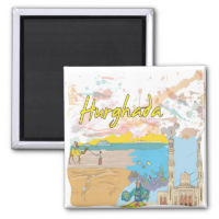 Hurghada 2 Inch Square Magnet