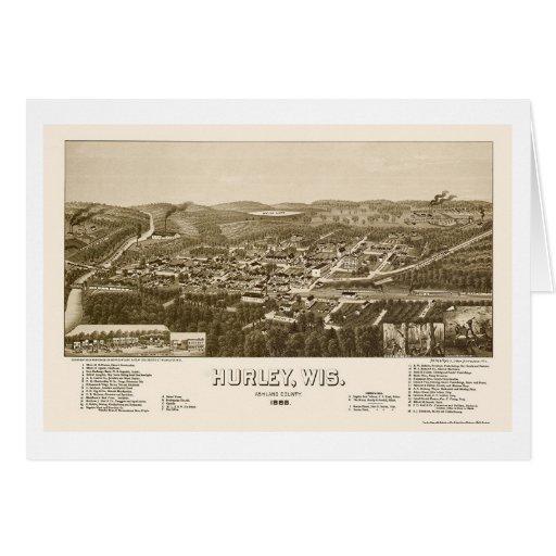 Hurley, mapa panorámico de los WI - 1886 Felicitaciones