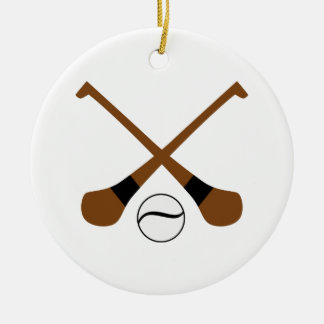 Hurling bats and ball ceramic ornament