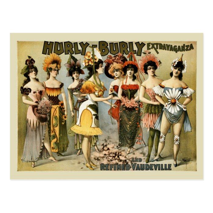 Hurly-Burly Extravaganza and vaudeville vintage Postcard