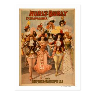 Hurly-Burly Extravaganza Theatre Poster Postcard