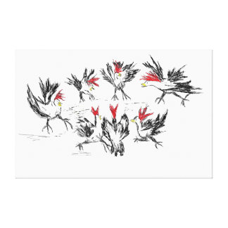 Hurly-burly in the poultry unit canvas print