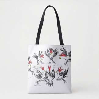 Hurly-burly in the poultry unit tote bag