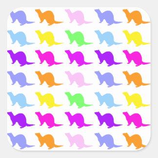Hurón 4 pegatinas cuadradases personalizadas