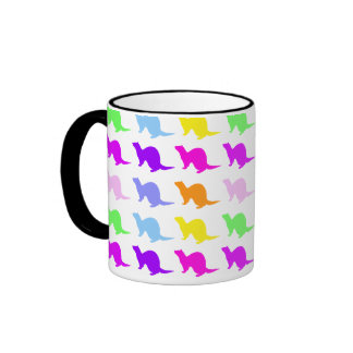 Hurón del color del arco iris taza de café