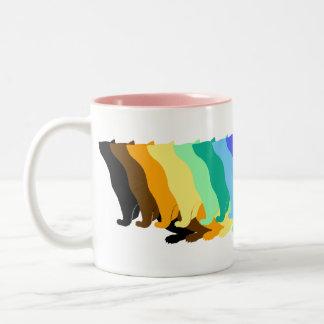 Hurón del color del arco iris tazas de café