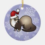 Hurón del navidad adorno navideño redondo de cerámica