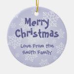 Hurón del navidad (añada su mensaje) adorno navideño redondo de cerámica