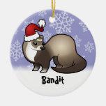Hurón del navidad (añada su nombre de mascotas) adorno navideño redondo de cerámica