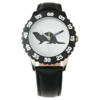 Hurón en silueta reloj