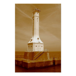 Huron lighthouse sepia print