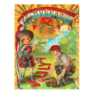 Hurrah 4to de los fuegos artificiales de julio postal
