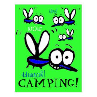 Hurrah funny summer camping mosquitos postcard