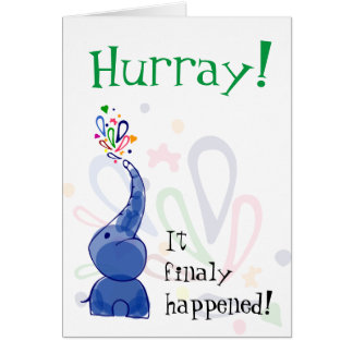"""Hurray"" card with blue baby elephant"
