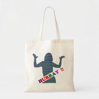 HURRAY :  Celebration Art n Text  ENJOY Budget Tote Bag