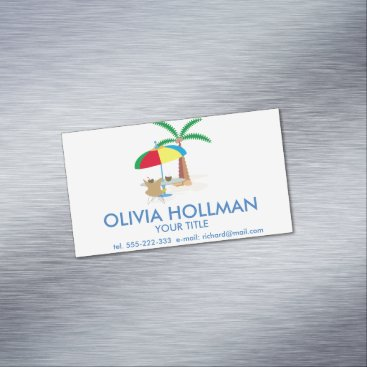 Beach Themed Hurray, vacation! business card magnet