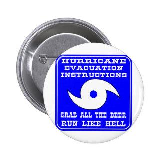 Hurricane Evacuation Instructions Plan Pinback Button