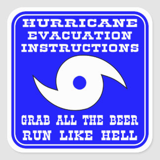 Hurricane Evacuation Instructions Plan Square Sticker