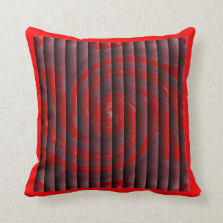 Hurricane Faux Tuck and Roll - Red/Red Border Throw Pillow