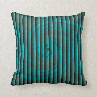 Hurricane Faux Tuck and Roll - Turquoise Throw Pillow