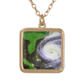 Hurricane Fran Off Florida - 1996 Satellite Image Gold Plated Necklace