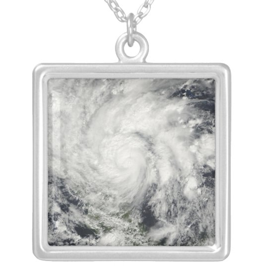 Hurricane Ida over Nicaragua Silver Plated Necklace