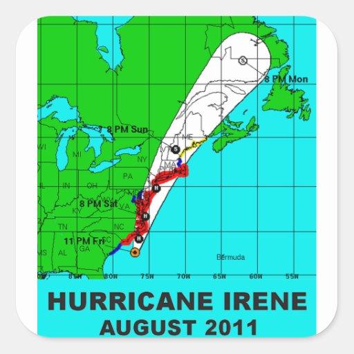 Hurricane Irene, August 2011 Track Square Sticker