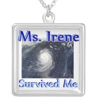 Hurricane Irene Survived Me Square Pendant Necklace