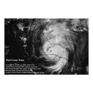 Hurricane Irma Infrared Satellite Image Poster