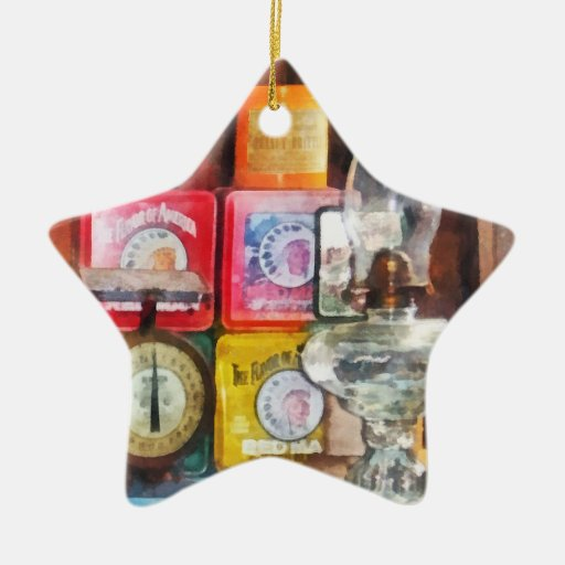 Hurricane Lamp and Scale Double-Sided Star Ceramic Christmas Ornament