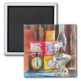 Hurricane Lamp and Scale 2 Inch Square Magnet