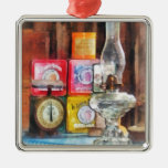 Hurricane Lamp and Scale Square Metal Christmas Ornament