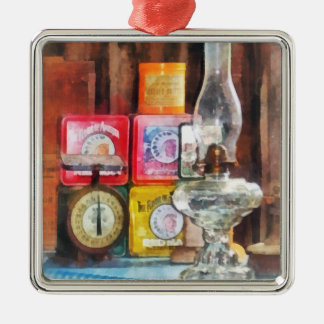 Hurricane Lamp and Scale Ornament