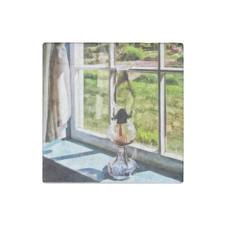Hurricane Lamp in a Sunny Window Stone Magnet