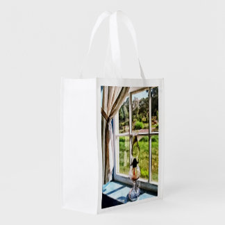 Hurricane Lamp in a Sunny Window Reusable Grocery Bag