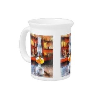 Hurricane Lamp in General Store Beverage Pitchers