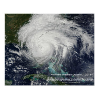 Hurricane Matthew Satellite Image by St. Augustine Poster