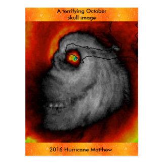 Hurricane Matthew Skull image post card