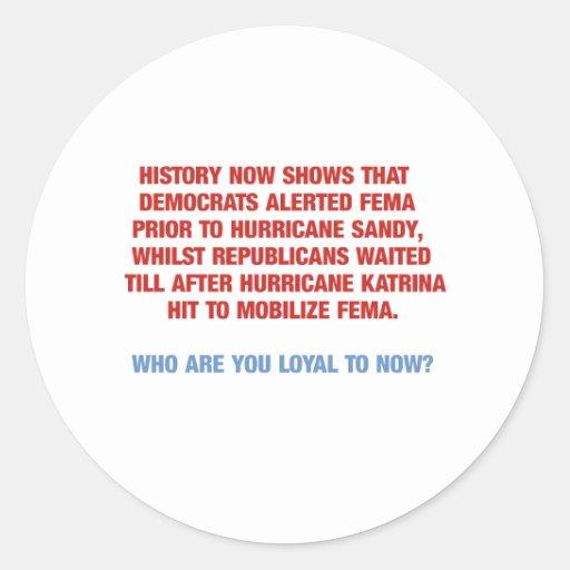 Hurricane Sandy and Katrina Politics Stickers