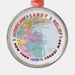 Hurricane Sandy Relief Awareness Round Metal Christmas Ornament